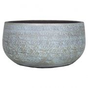 Ciotola per fiori NAVID, ceramica, granulato, blu chiaro-bianco, 14cm, Ø29cm