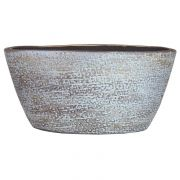 Vaso da fiori ovale NAVID, ceramica, granulato, blu chiaro-bianco, 30x15x14cm