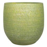 Vaso da fiori NAVID, ceramica, granulato, verde-giallo, 14cm, Ø16cm